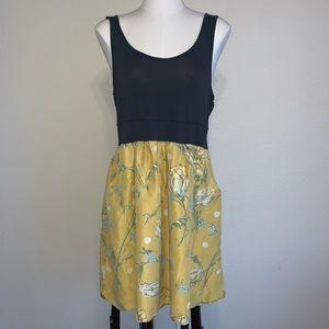 Anthropologie Maeve Silk skirt Jersey tank dress